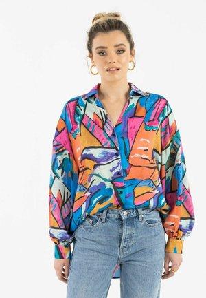 ZIBI LONDON DAMEN SATIN CHANCE - Button-down blouse - multi-coloured