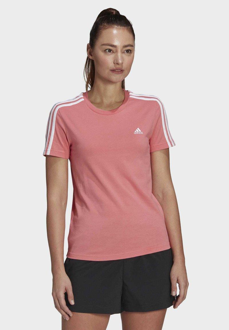 adidas Performance - ESSENTIALS SLIM 3-STRIPES T-SHIRT - Printtipaita - pink