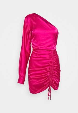 ONE SHOULDER RUCHED MINI DRESS - Cocktail dress / Party dress - hot pink
