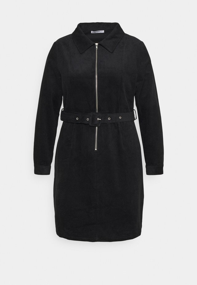 MINI DRESS WITH LONG SLEEVES COLLAR AND BELT - Blousejurk - black