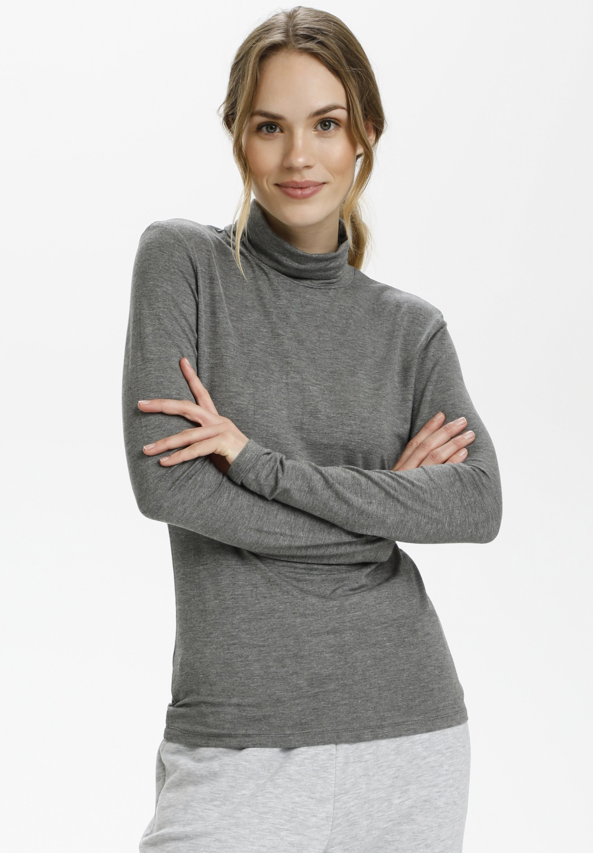 Donna YOKO ROLLNECK - Maglietta a manica lunga - dark grey