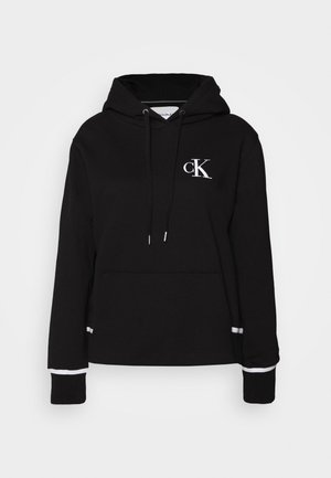 EMBROIDERY TIPPING HOODIE - Mikina s kapucí - black