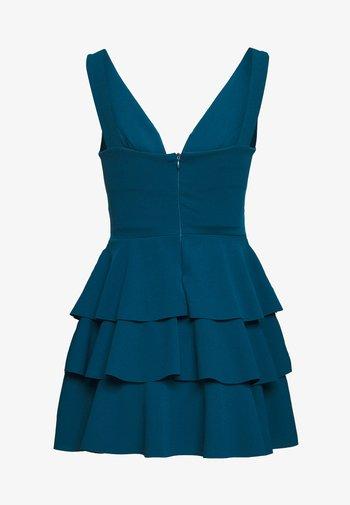 V NECK DOUBLE DRILL DRESS - Koktejlové šaty/ šaty na párty - teal blue