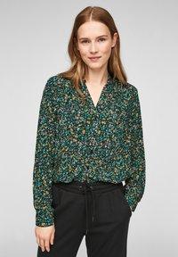 Q/S designed by - MET BLOEMENMOTIEF - Button-down blouse - black aop - 0