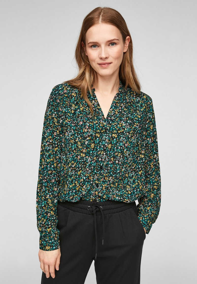 Q/S designed by - MET BLOEMENMOTIEF - Button-down blouse - black aop