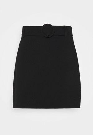 ANABELLE BELTED MINI SKIRT - Mini skirt - black