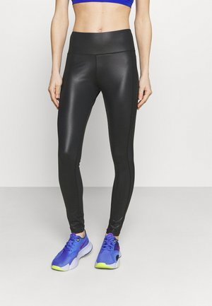 HIGH WAIST WETLOOK LEGGIGNS - Leggings - black