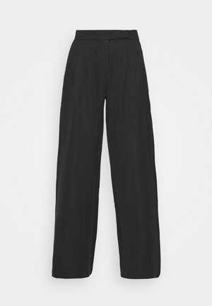 HIGH WAIST WIDE LEG TROUSERS - Trousers - black