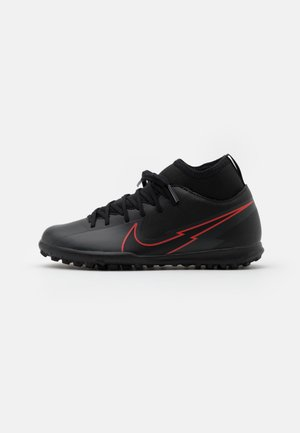 MERCURIAL JR 7 CLUB TF UNISEX - Astro turf trainers - black/dark smoke grey