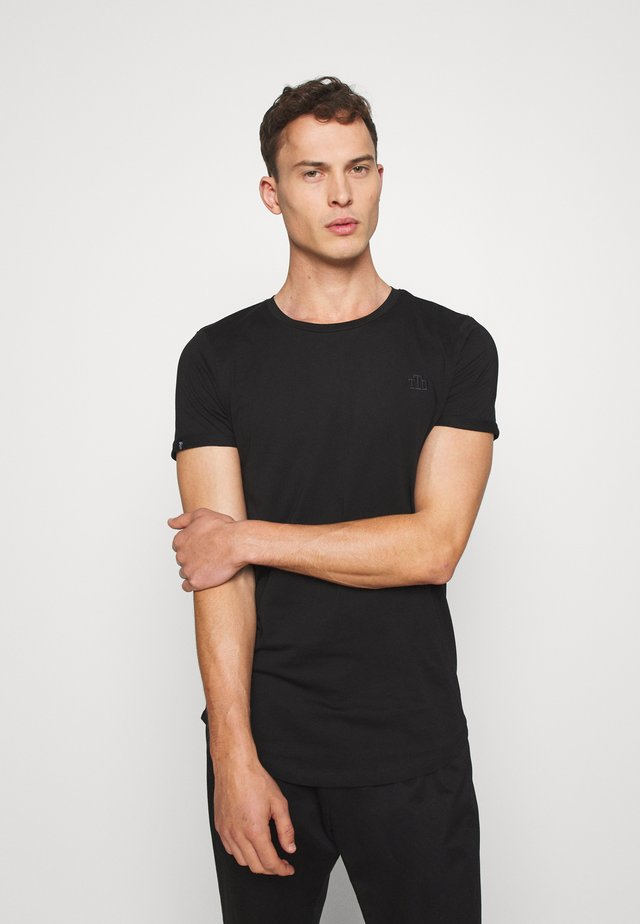 LONG BASIC WITH LOGO - T-shirt basic - black