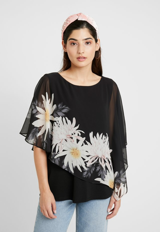 SPACED FLORAL OVERLAYER - Blouse - black
