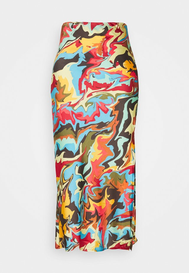 PRINTED MIDI SKIRT WITH SIDE SPLIT - A-Linien-Rock - marble