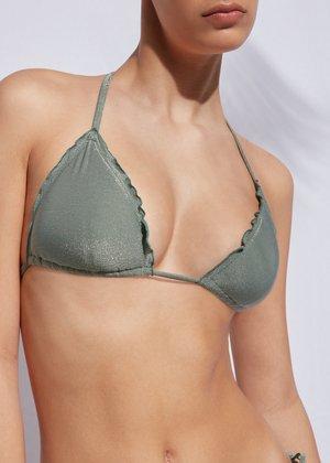 Bikini top - silvered green shine