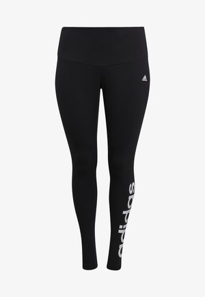 ESSENTIALS HIGH-WAISTED LOGO LEGGINGS (PLUS SIZE) - Medias - black/white