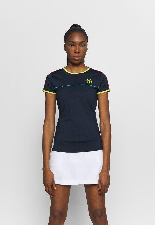 IRIS - T-shirt z nadrukiem - navy/acidlime