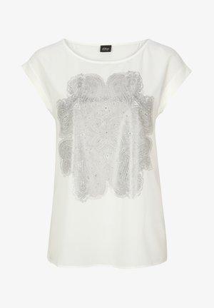 FABRIC-MIX-SHIRT MIT METALLIC-PRINT - Print T-shirt - white aop