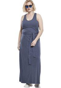 Urban Classics Curvy - LADIES LONG RACER BACK DRESS - Maxi dress - vintageblue - 1