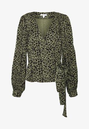 WRAP - Blouse - sage leopard