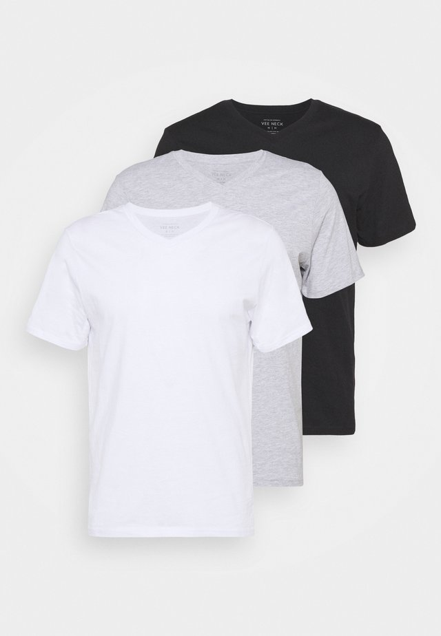 ESSENTIAL NECK TEE 3 PACK - Jednoduché triko - white/black/light grey marle
