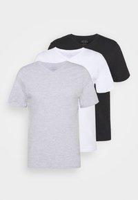 ESSENTIAL NECK TEE 3 PACK - Basic T-shirt - white/black/light grey marle