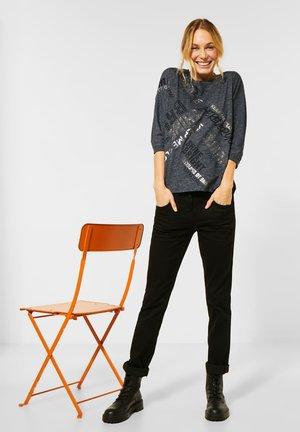 SHIRT MIT SCHRIFT - Long sleeved top - black