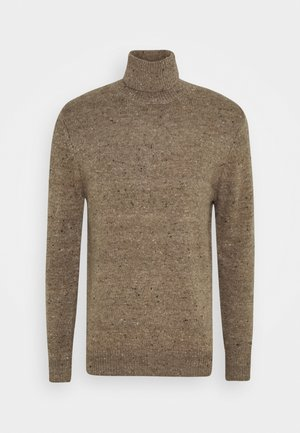 ROUND COLLAR WITH MELANGE EFFECT - Jumper - hazelnut