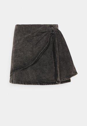 BOW WRAP SKIRT - Gonna di jeans - black