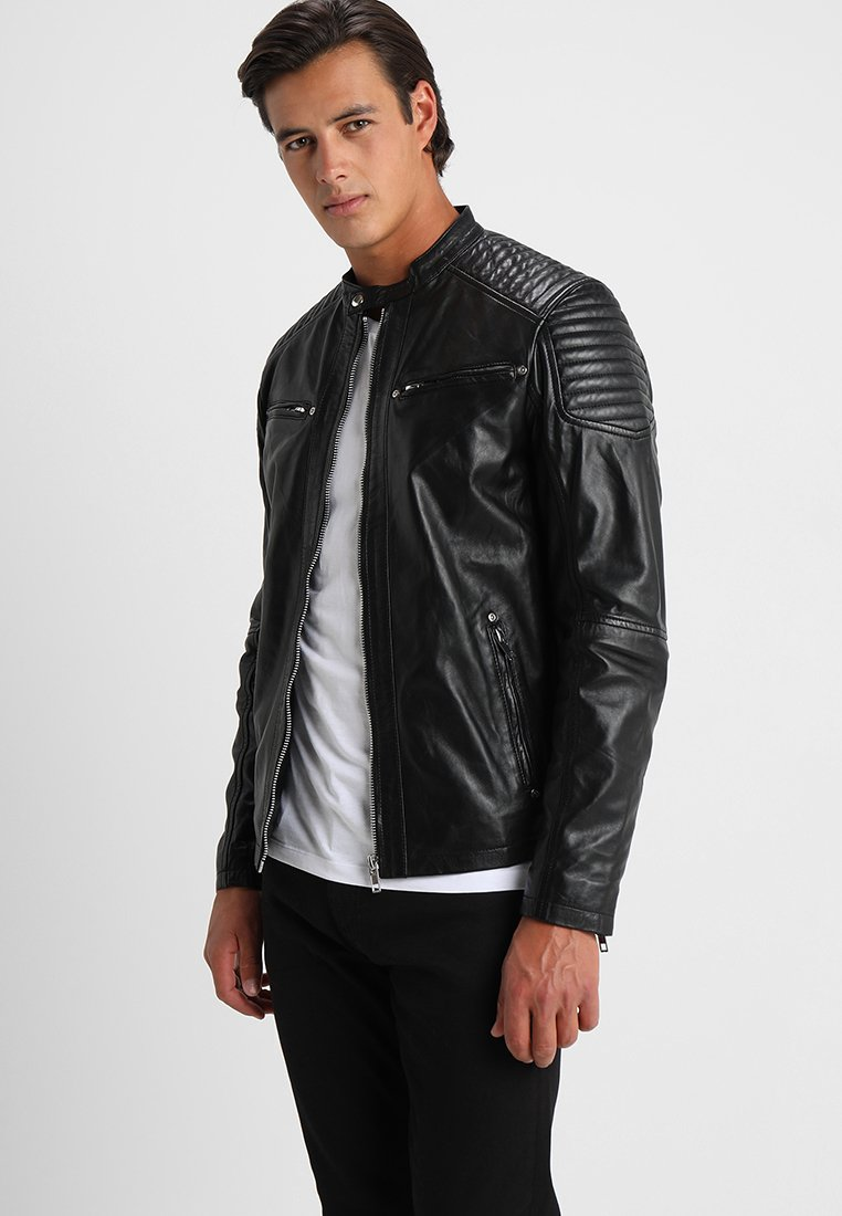 Solid - TOPPER - Veste en cuir - black