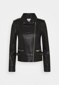 Rich & Royal - BIKER JACKET WITH PIPING - Leather jacket - black - 3