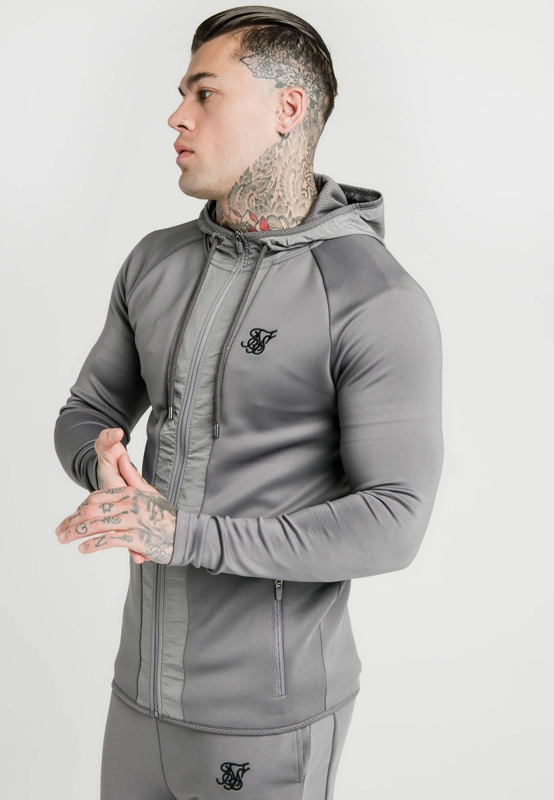 SIKSILK - CREASED ZIP THROUGH HOODIE - Zip-up hoodie - grey