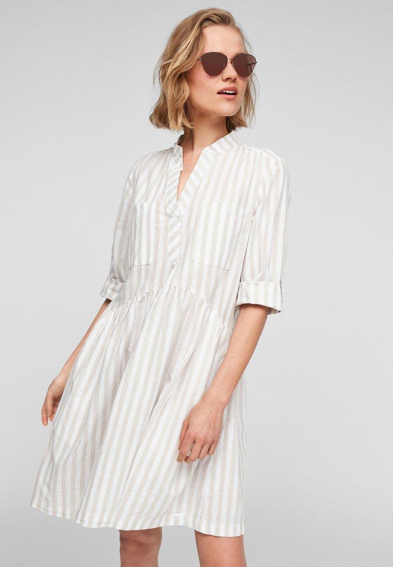 Q/S designed by - Day dress - beige stripes