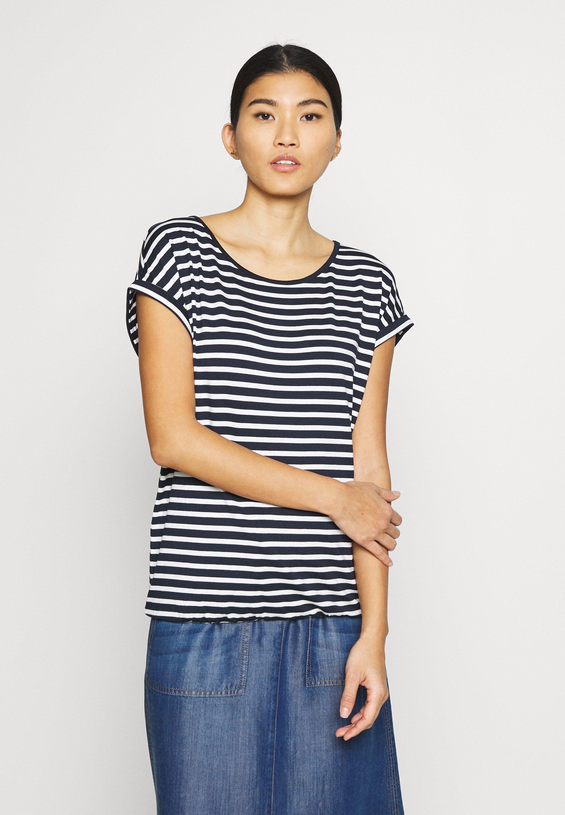 Damen T-SHIRT STRIPED CREW-NECK - T-Shirt print