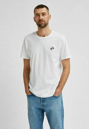 SLHANDRE O NECK TEE - Print T-shirt - bright white