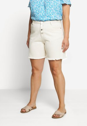 FRAYED HEM LONG LINE BUTTON FRONT DENIM SHORTS - Shorts di jeans - sand