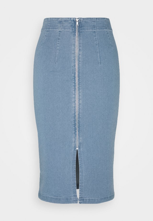 VIFANNI MALLE MIDI SKIRT - Gonna di jeans - light blue denim
