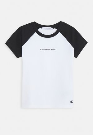 COLORBLOCK - T-shirt z nadrukiem - black/white