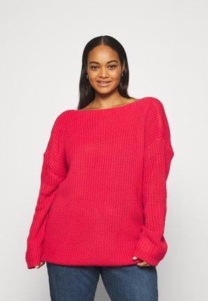 BACK V NECK  - Stickad tröja - strawberry