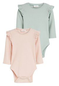 Next - PINK/GREEN 2 PACK FRILL SLEEVE BODYSUITS (0MTHS-3YRS) - Long sleeved top - pink - 0