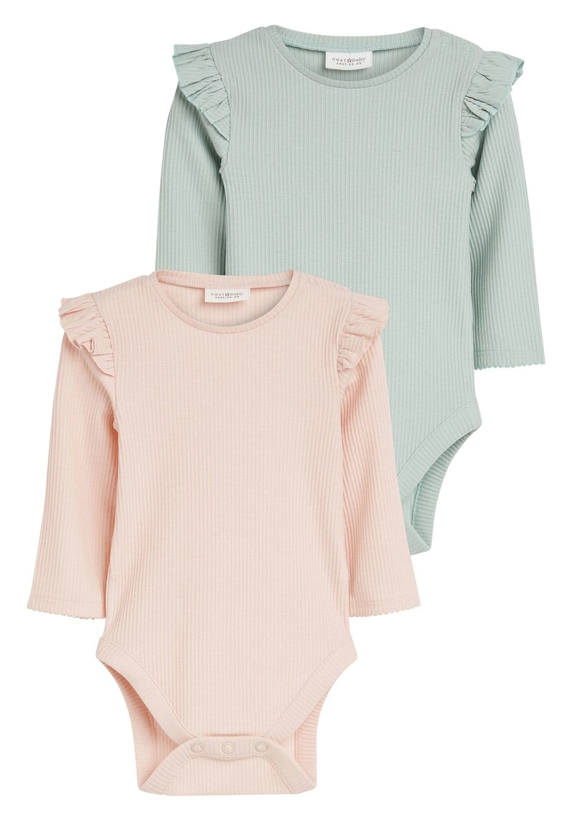 Next - PINK/GREEN 2 PACK FRILL SLEEVE BODYSUITS (0MTHS-3YRS) - Long sleeved top - pink