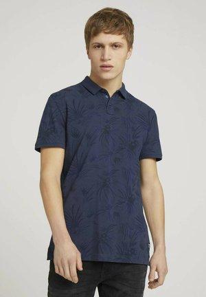Poloshirt - navy blue thistle print