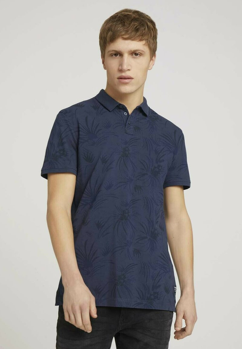 TOM TAILOR DENIM - Polo shirt - navy blue thistle print