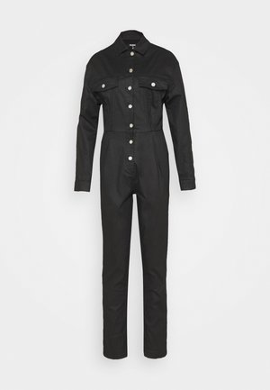 COATED CINCHED WAIST BOILERSUIT - Jumpsuit - black
