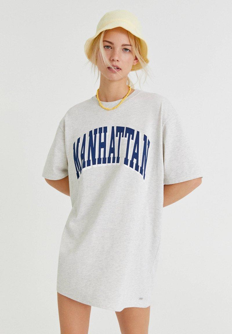 PULL&BEAR - Print T-shirt - light grey