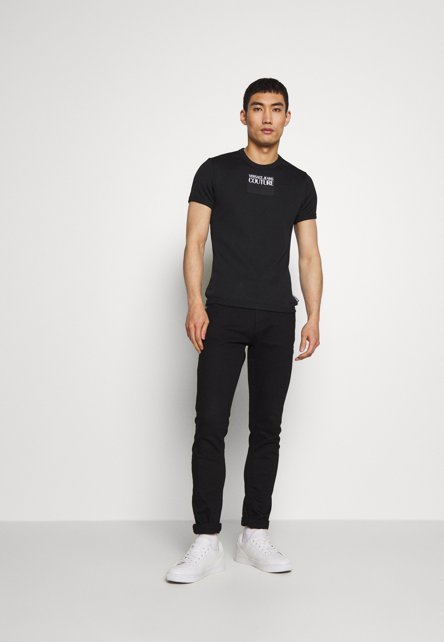 Versace Jeans Couture SKINNY - T-shirt imprimé - black