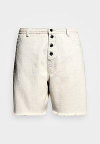 FRAYED HEM LONG LINE BUTTON FRONT DENIM SHORTS - Shorts di jeans - sand