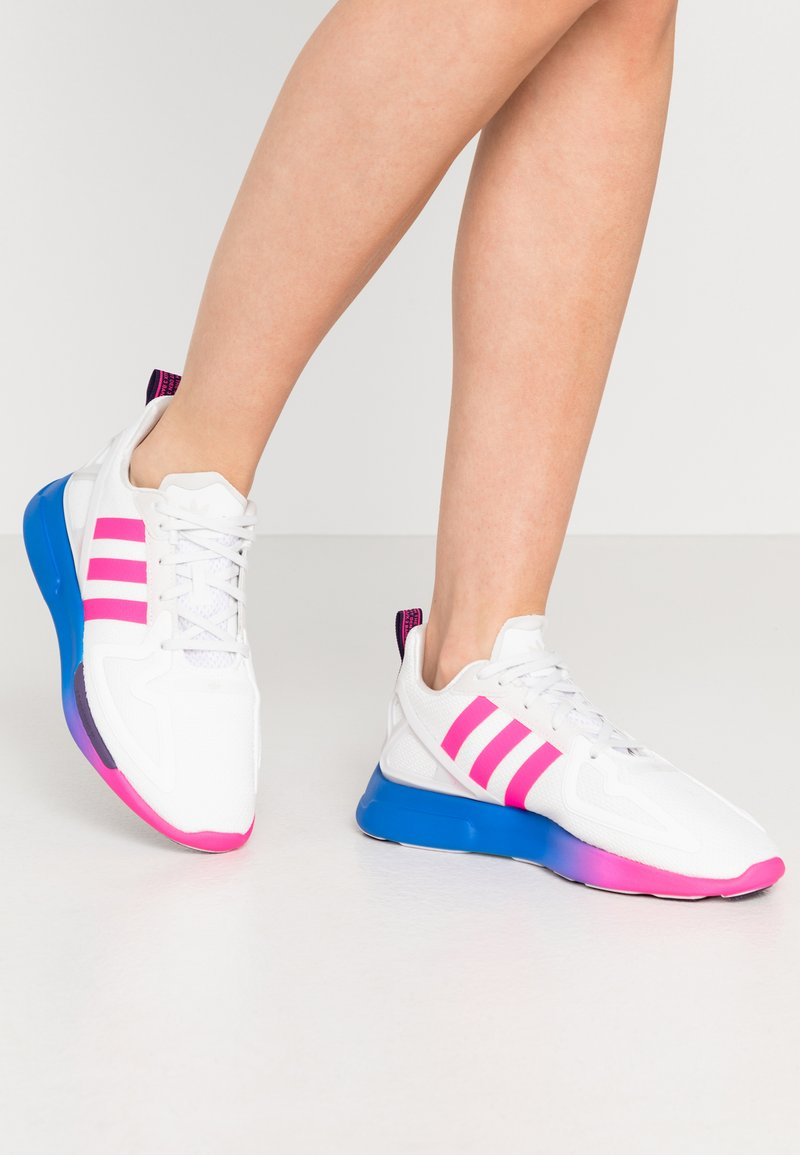 adidas Originals - ZX 2K FLUX - Trainers - crystal white/shock pink/blue