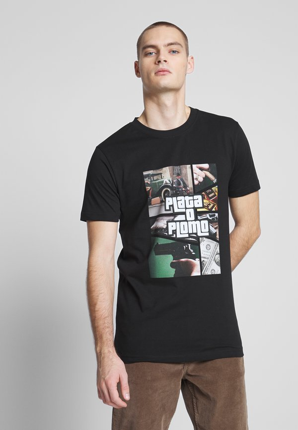 Mister Tee PLATA O PLOMO TEE - T-shirt z nadrukiem - black/czarny Odzież Męska IXLJ