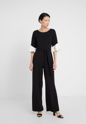 BELL SLEEVE WITH TIE BELT - Jumpsuit - black/ivory