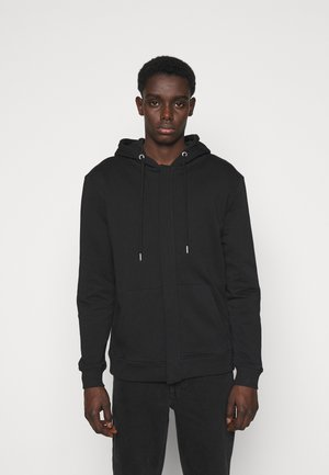 PAUL AARON HIDDEN ZIP HOODIE - Zip-up hoodie - black