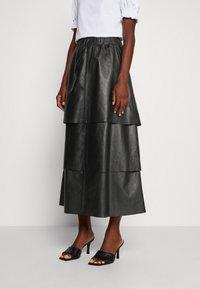 Ibana - SABINE LAYERED SKIRT - Maxi skirt - black - 0